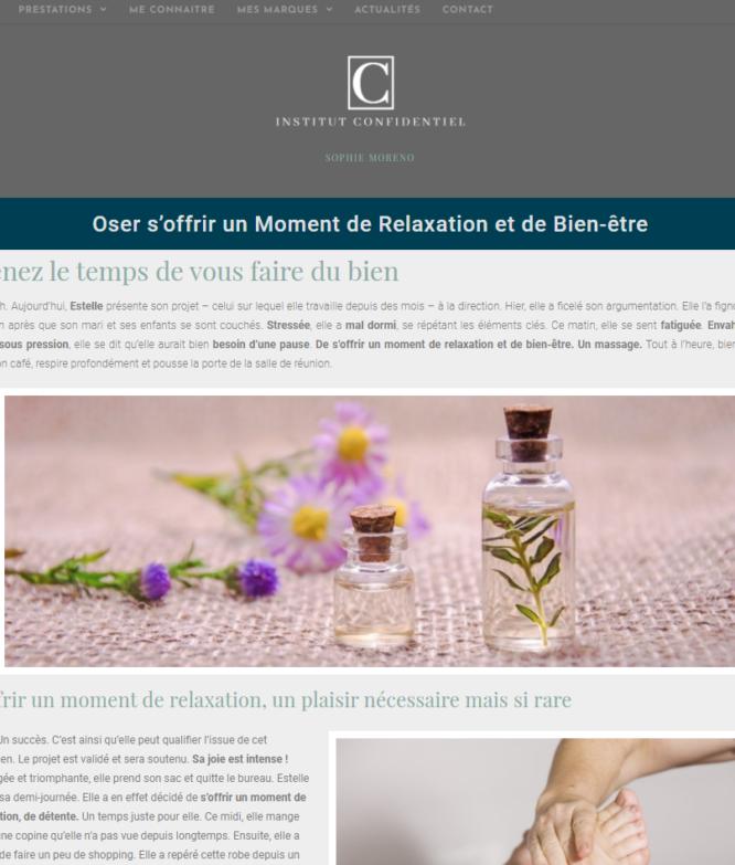 Site web de l'institut de beauté confidentiel