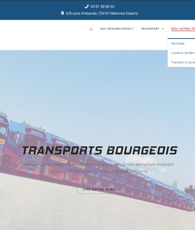 Page d'accueil transports bourgeois par Thomas Diconne
